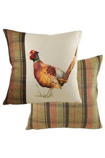 Hunter Pheasant Tartan Cushion by Evans Lichfield