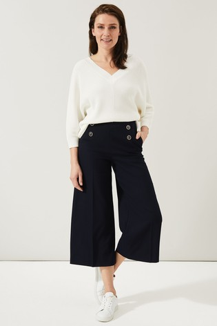 Phase Eight Blue Beatrix Double Button Culottes