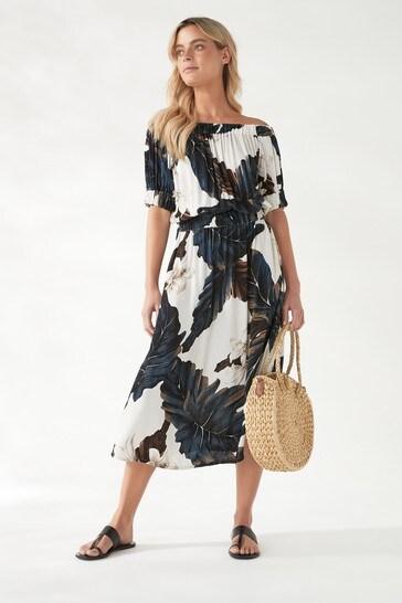 Ecru Floral Off The Shoulder Dress