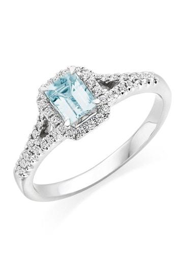Beaverbrooks 18ct Diamond And Aquamarine Ring
