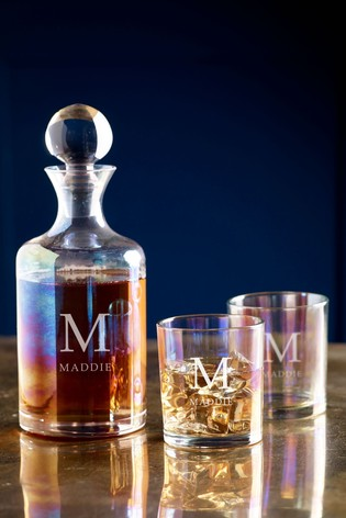 Personalised Iridescent Decanter Set by Loveabode