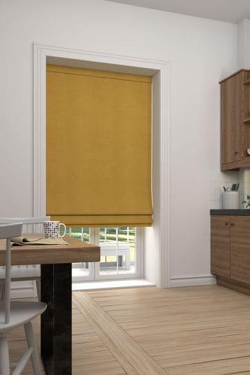 Soft Velour Honey Yellow Made To Measure Roman Blind