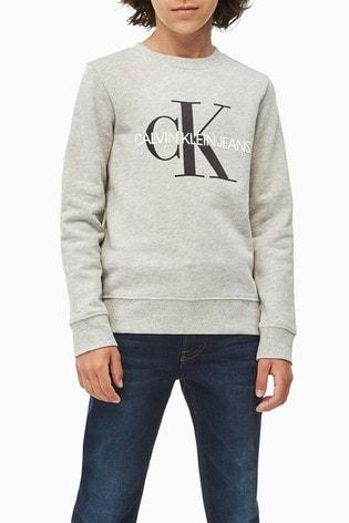 Calvin Klein Grey Jeans Monogram Logo Sweatshirt