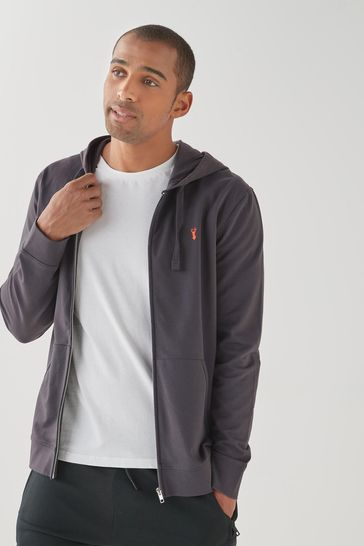 Slate Lightweight Zip Through Hoodie