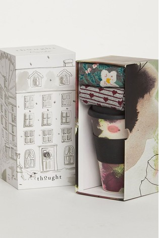 Thought Floral Floral Bamboo Cup And Socks Gift Pack