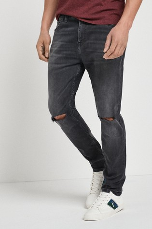 Washed Black Skinny Fit Ripped Jeans With Stretch