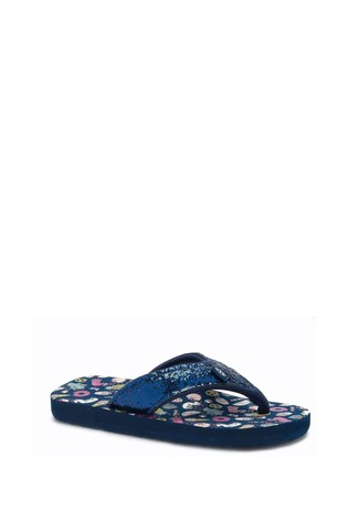 Animal Blue Swish Glitz Flip Flops