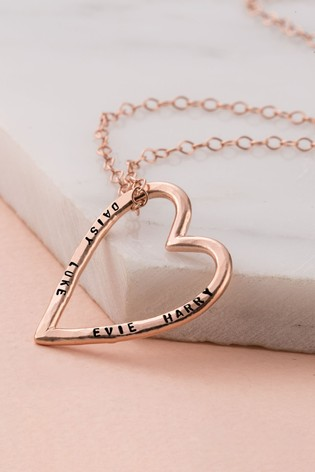 Personalised Large Rose Gold Heart Necklace by Posh Totty Designs