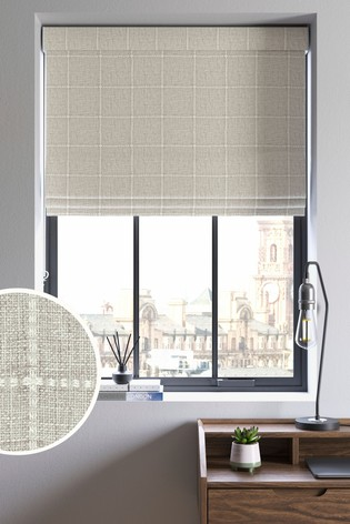 Windowpane Check Natural Made To Measure Roman Blind
