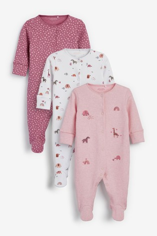 Pink Safari Animals 3 Pack Embroidered Detail Sleepsuits (0-3yrs)