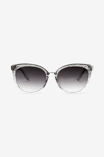 Grey Glitter Cat Eye Sunglasses
