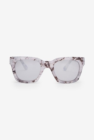 White Marble Effect Mirrored Lens Sunglasses