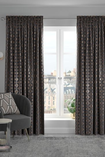 Bronze Geo Star Made To Measure Curtains