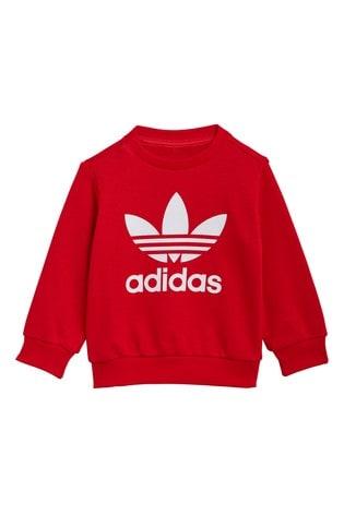 adidas Originals Infant Red Trefoil Crew And Jogger Set