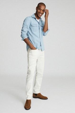 Reiss Blue Devlin Chambray Overshirt