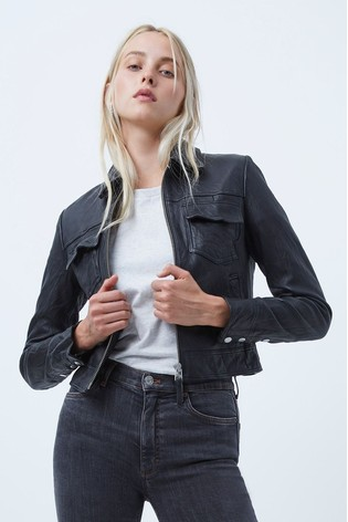 French Connection Black Rada-Bleeker Slim Fit Leather Jacket