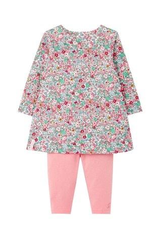 Joules White Christina Organically Grown Cotton Dress And Legging Set