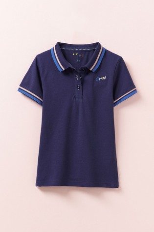 Crew Clothing Blue Classic Fit Pique Polo Shirt