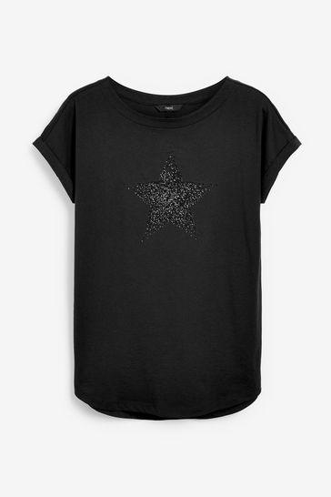 Embellished Star Black Curved Hem T-Shirt