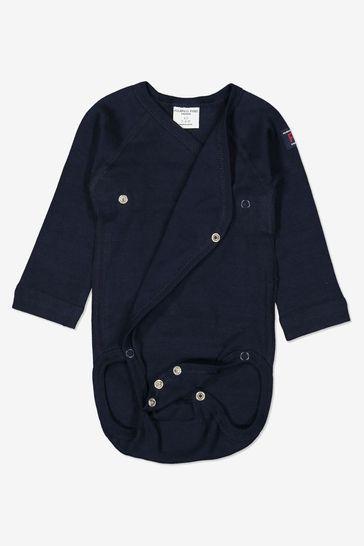 Polarn O. Pyret Blue Organic Cotton Wraparound Bodysuit