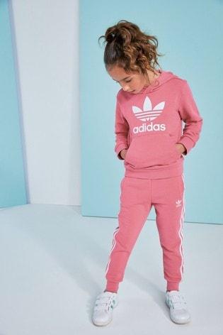 adidas Originals Little Kids Pink Trefoil Hoodie And Joggers Set