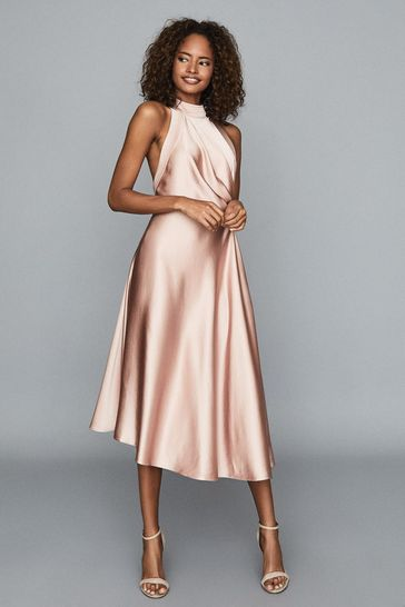 Reiss Pink Rita Halterneck Satin Midi Dress