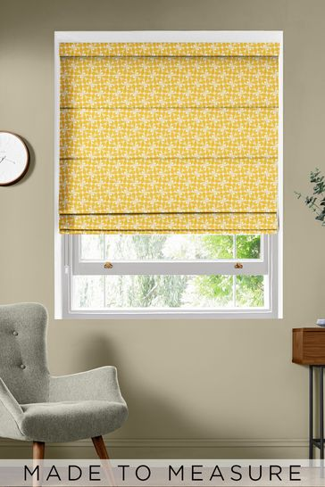 Orla Kiely Yellow Woven Acorn Cup Made To Measure Roman Blind