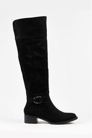 Wallis Hamlet Black D Ring High Leg Boots