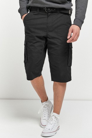 Black Belted Longer Cargo Shorts