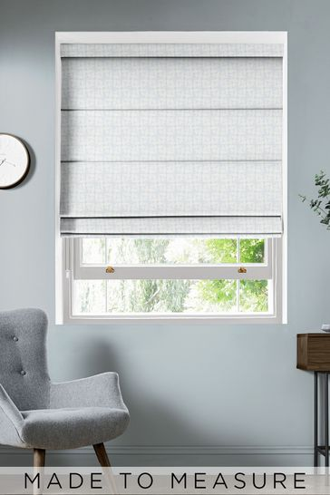 Woven Acorn Cup Mid Powder Blue Made To Measure Roman Blind by Orla Kiely
