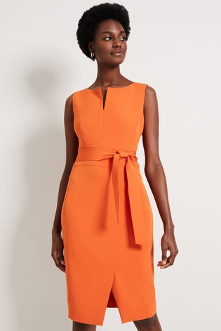 Damsel In A Dress Orange Mira Belted Dress