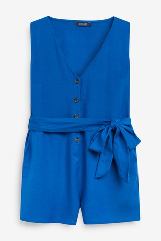 Figleaves San Sebastian Cotton Button Down Sleeveless Playsuit