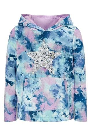 Monsoon Blue Tie Dye Print Star Sequin Hoody