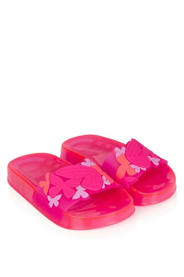 Girls Pink Butterfly Jelly Sliders
