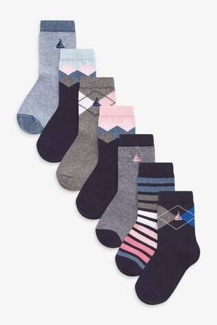 Blue Smart 7 Pack Cotton Rich Socks