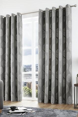 Curtina Helsinki Skandi Leaf Lined Eyelet Curtains