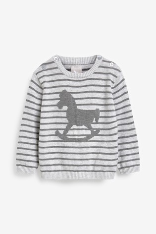 The Little Tailor Grey Stripey Baby Knit Jumper
