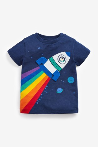 Navy Rainbow Rocket Appliqué T-Shirt (3mths-7yrs)