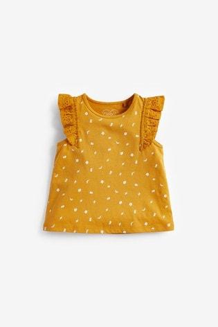 Ochre Ditsy Frill Vest (3mths-8yrs)