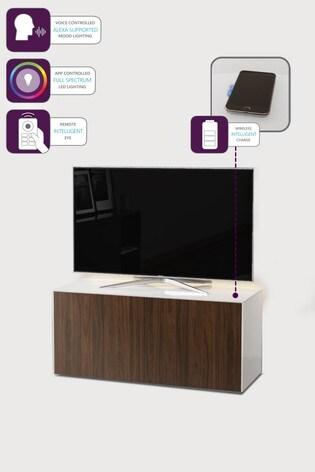 Frank Olsen Smart LED White and Walnut Medium TV Unit