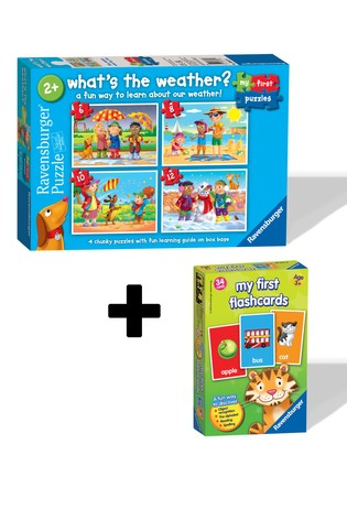 Ravensburger Whats The Weather? 6,8,10,12pc My First Flash Card Game Twin Pack