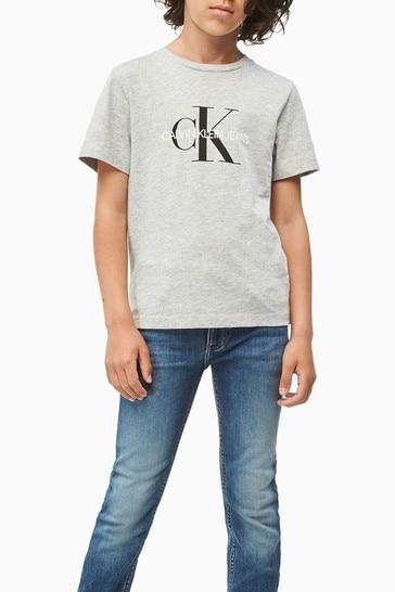 Calvin Klein Grey Jeans Monogram Logo T-Shirt