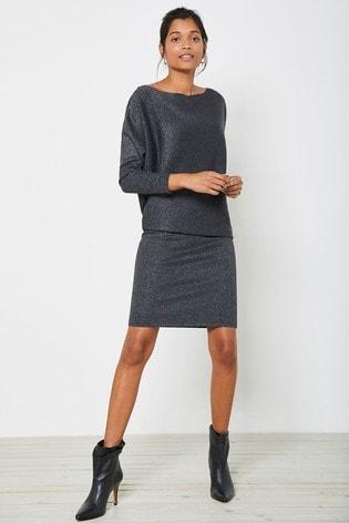 Mint Velvet Grey Metallic Jumper Dress