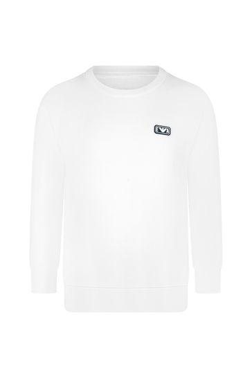 Boys White Cotton Sweater