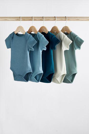 Petrol Blue 5 Pack Short Sleeve Bodysuits (0mths-3yrs)