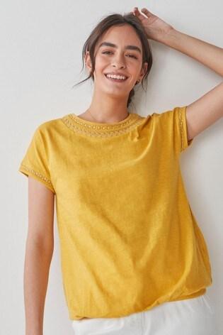 Ochre Bubble Hem T-Shirt