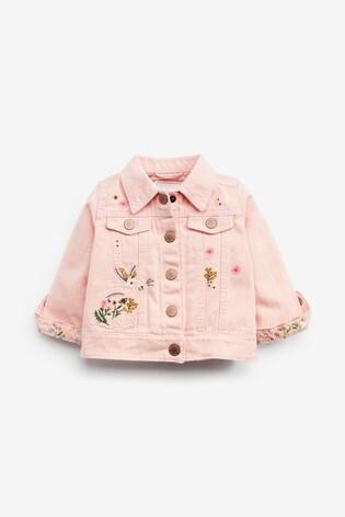 Pink Denim Embroidered Jacket (3mths-7yrs)