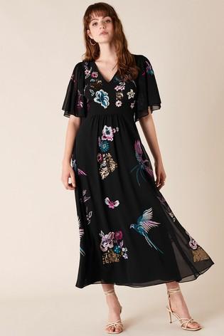 Monsoon Black Perrie Embroidered Midi Dress