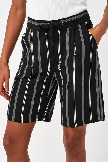 Black & White Stripe Linen Blend Knee Shorts