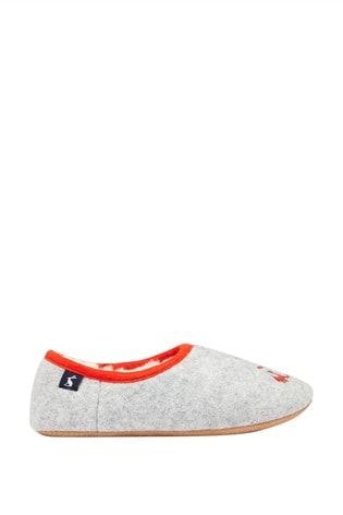 Joules Grey Junior Slippet Felt Mule Slippers